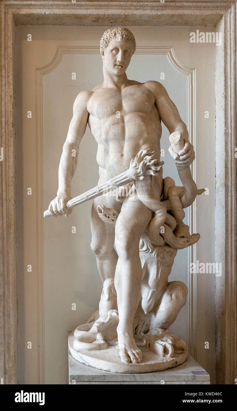Hercules Restored as the Slayer of the Hydra of Lerna, statue from the 2nd century AD restored c.1635 by A Algardi, - Stock Image