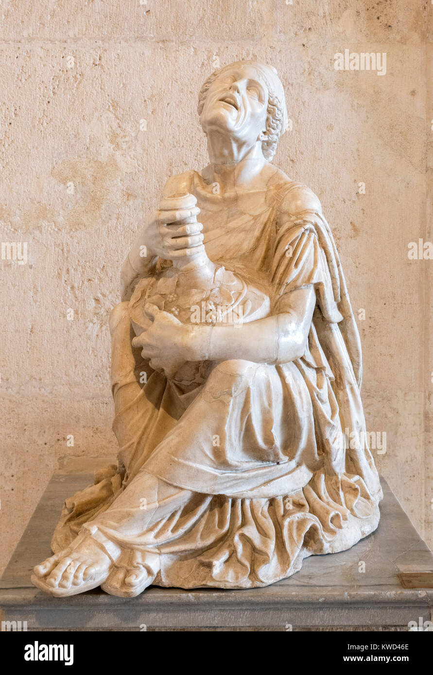 Sculpture of a Drunken Old Woman, dating from the 2nd century AD, Palazzo Nuovo, Capitoline Museums, Rome, Italy - Stock Image