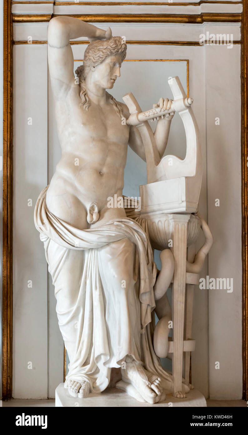 Statue of Apollo dating from the 2nd century AD, Palazzo Nuovo, Capitoline Museums, Rome, Italy - Stock Image