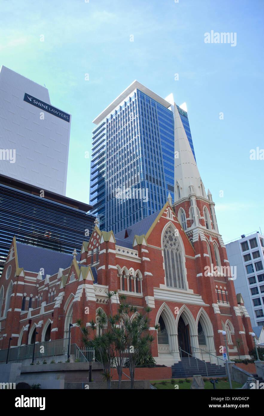 Brisbane, Australia - July 28, 2017: Albert Street Uniting Church and King George Central - Stock Image