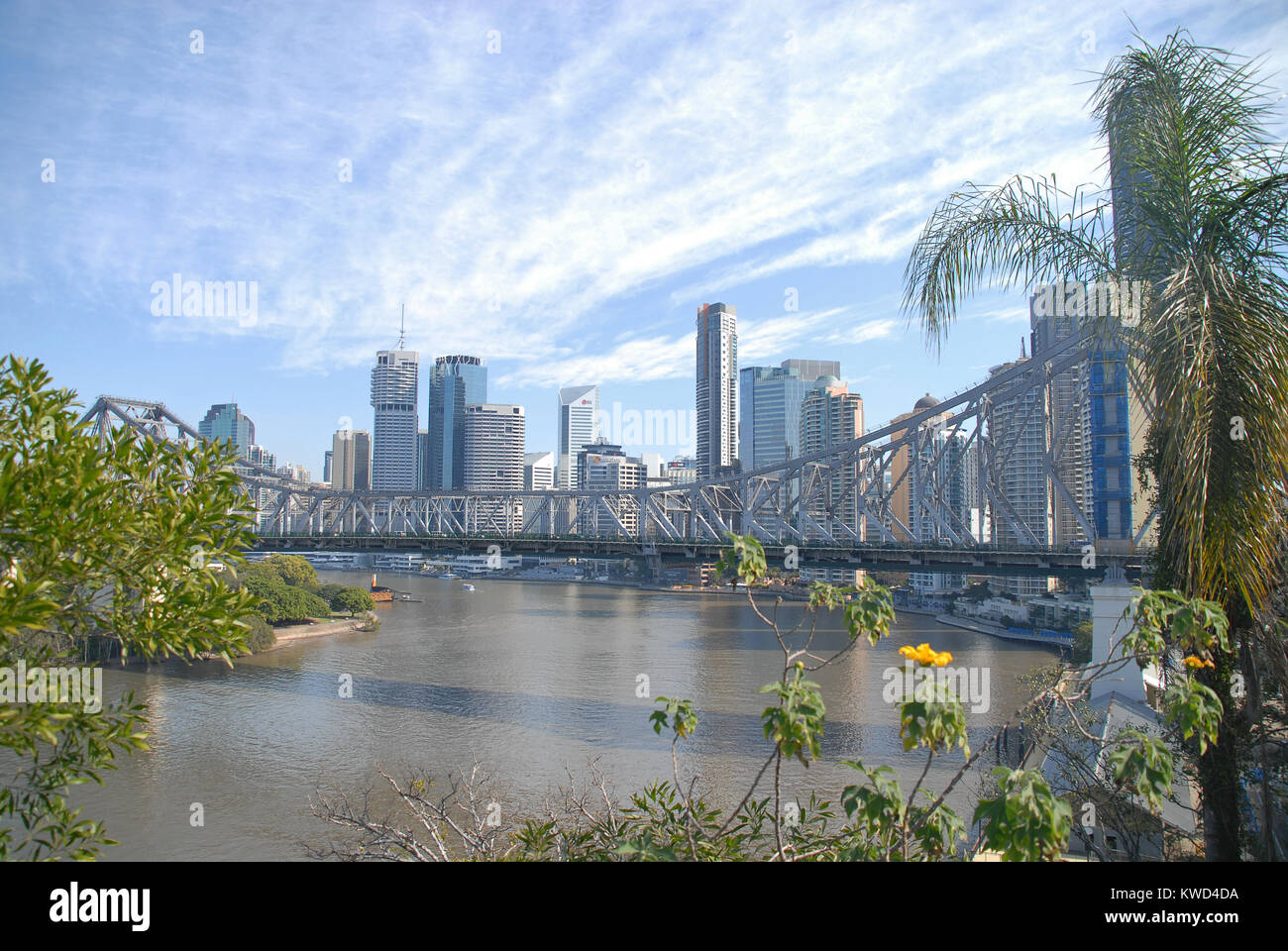 Brisbane, Australia - July 28, 2017: View of Story Bridge and the skyline of Brisbane - Stock Image