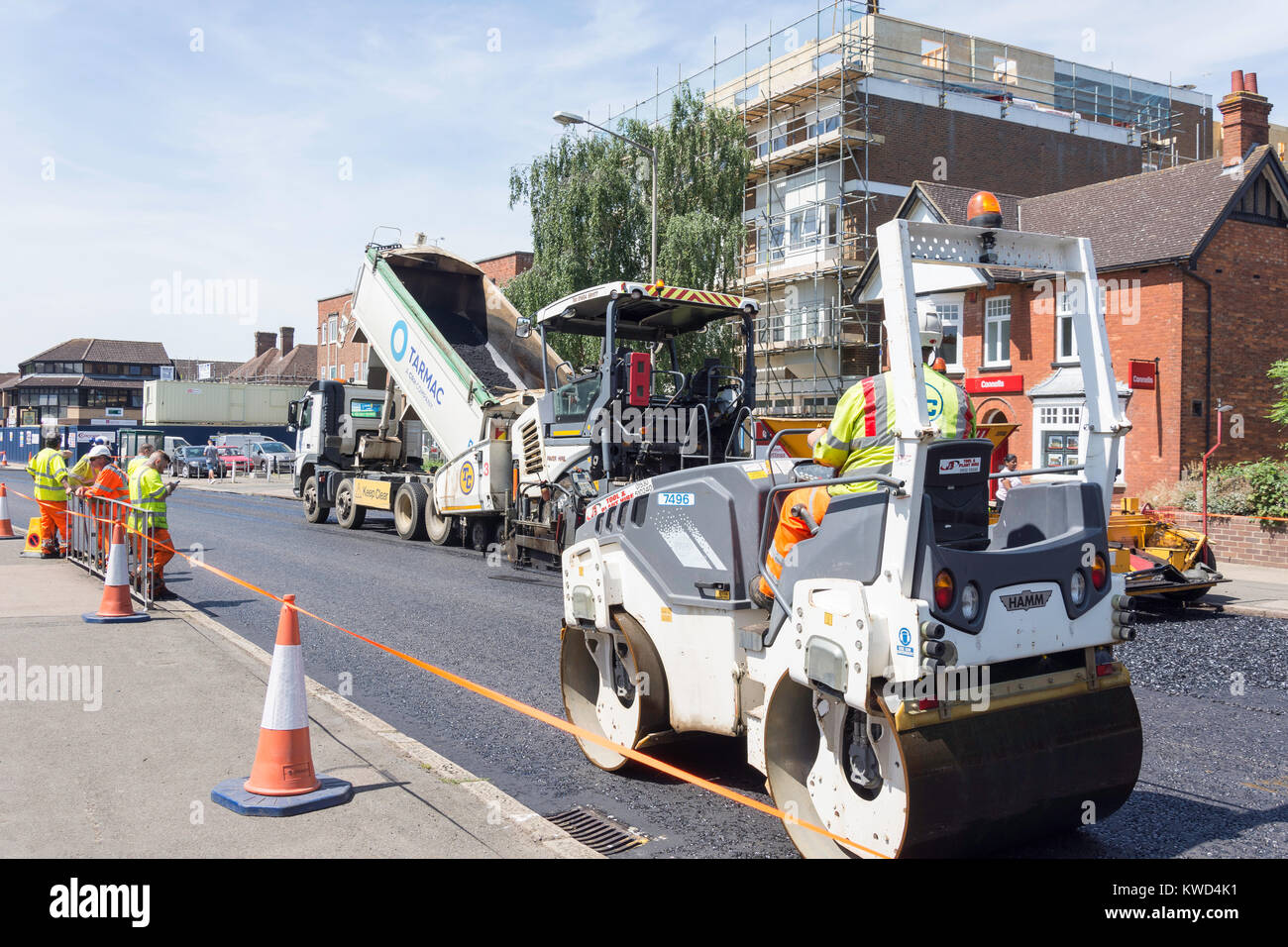 Road resurfacing machinery at work, Queensway, Bletchley, Milton Keynes, Buckinghamshire, England, United Kingdom - Stock Image