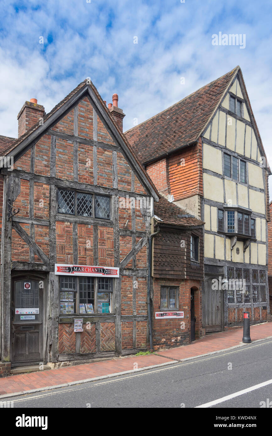 Timber-framed buildings on High Street, Ditchling, West Sussex, England, United Kingdom - Stock Image