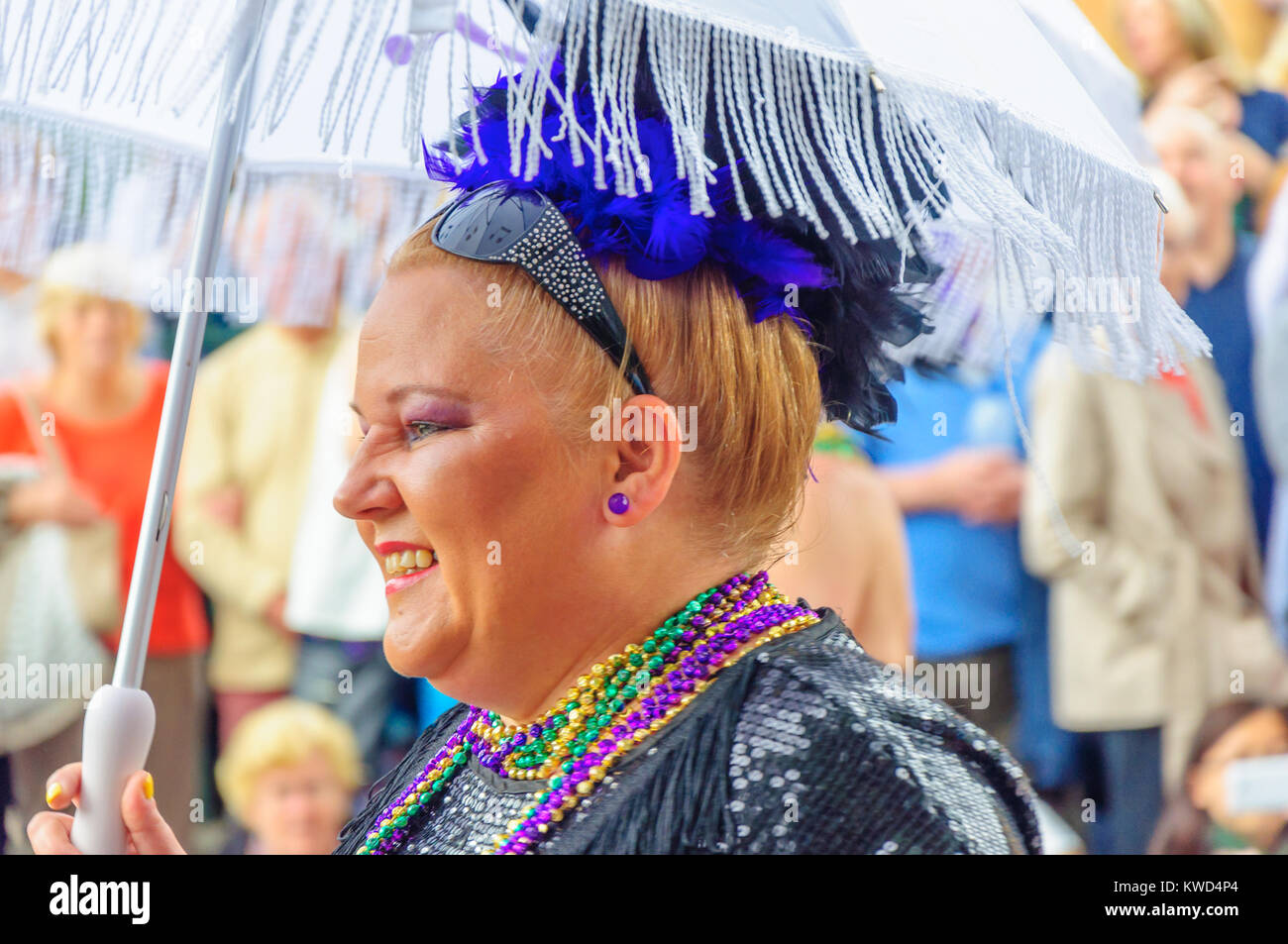 Female dancer from the Criterion Brass Band in the Carnival of The Edinburgh Jazz and Blues Festival during the - Stock Image