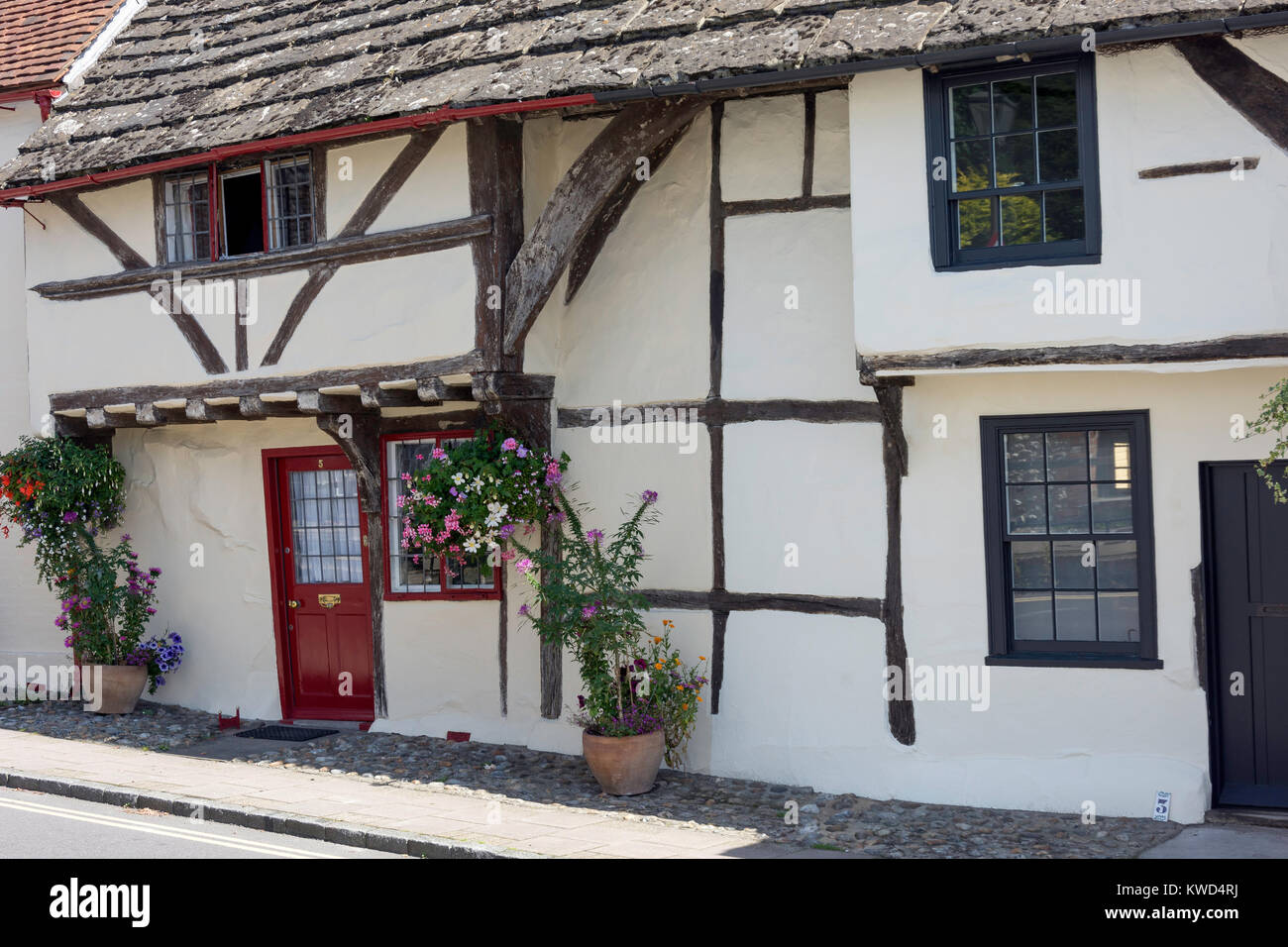 Timbered cottages, Church Street, Steyning, West Sussex, England, United Kingdom - Stock Image