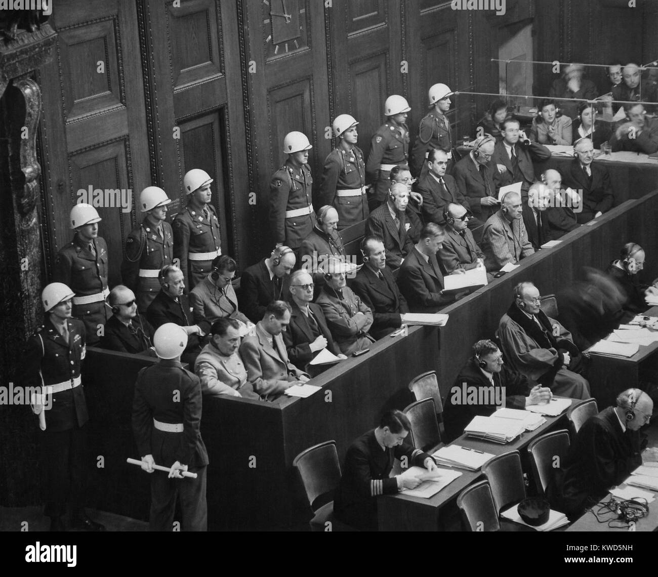 Former Nazi Germany's military and political leaders on trial at Nuremberg. They were prosecuted for waging - Stock Image