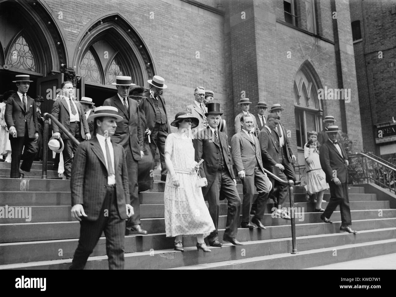 President Calvin Coolidge and First Lady Grace Coolidge leaving church on Aug. 5, 1923. It was the first Sunday - Stock Image