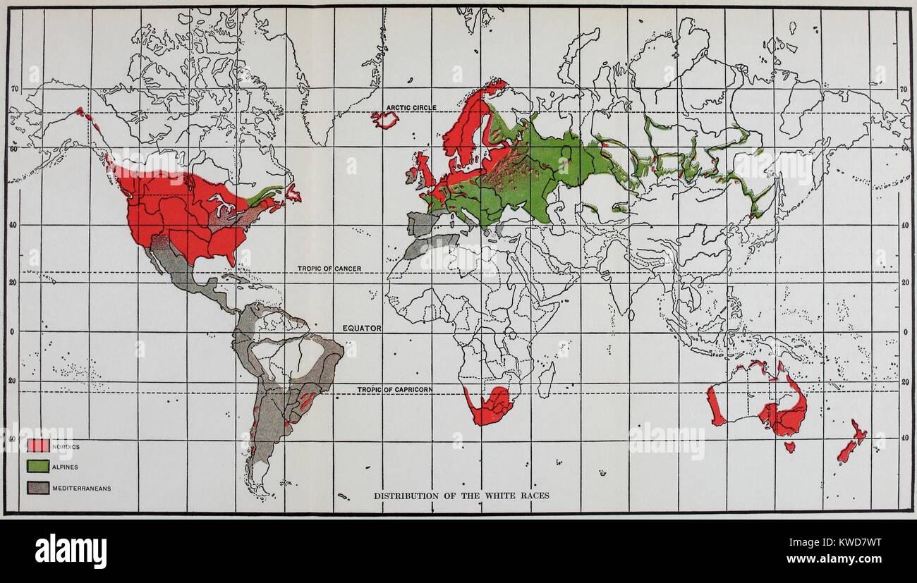 World maps stock photos world maps stock images alamy map showing the distribution of white race in 1920 from the rising gumiabroncs