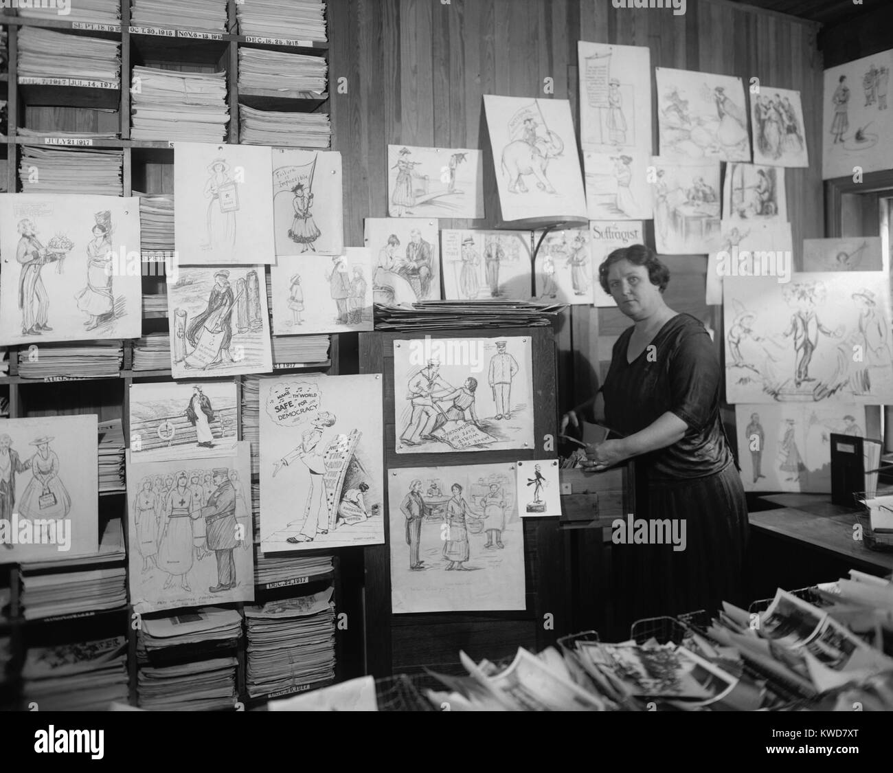 Suffragist political cartoons in offices of THE SUFFRAGIST. It was the newspaper of the Congressional Union for - Stock Image