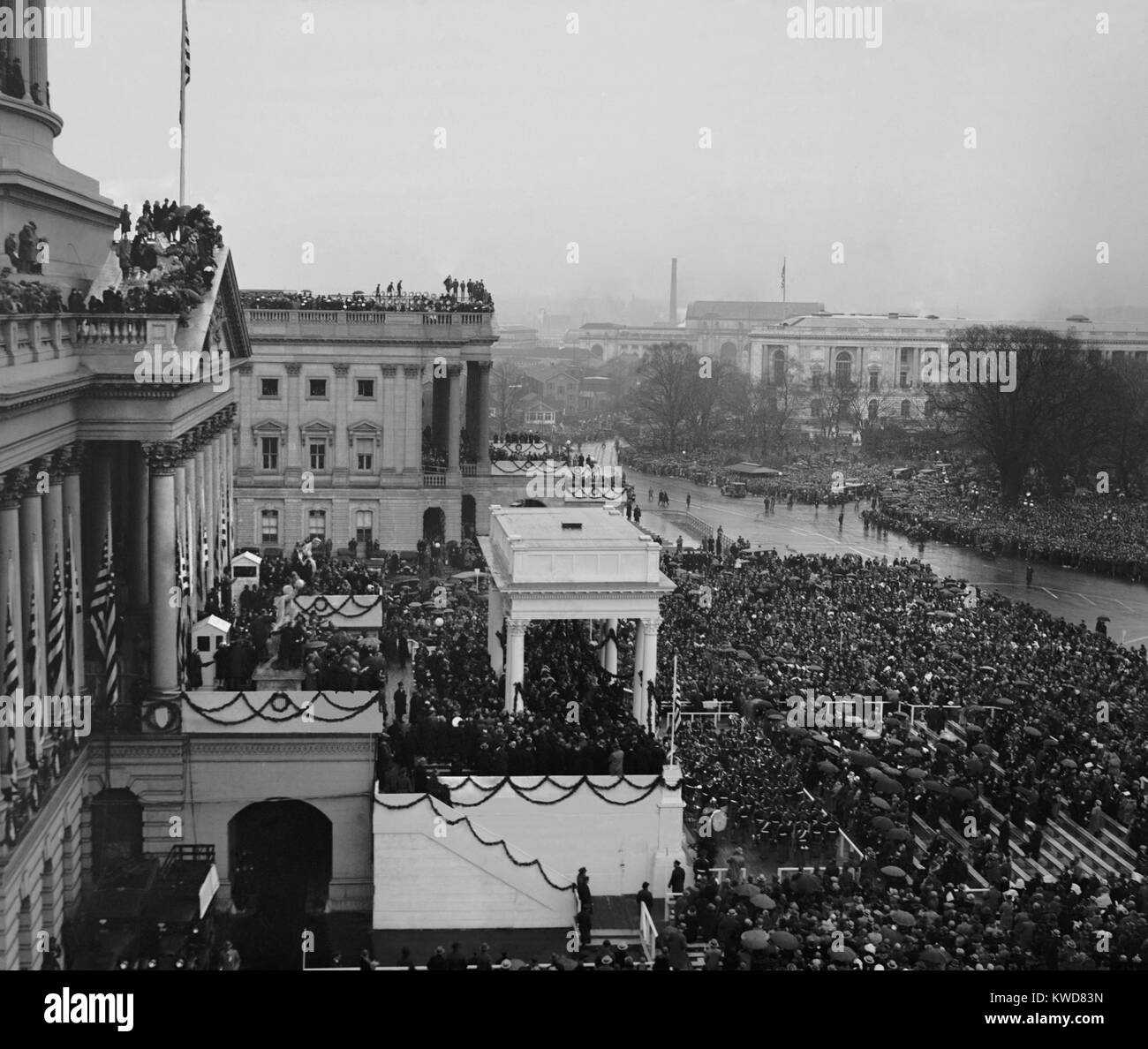 View of the Capitol and crowds at the Inauguration of