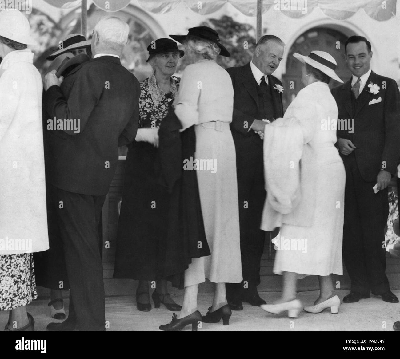 Former President Herbert Hoover and Lou Hoover receiving guests at San Diego Exposition, 1935. (BSLOC_2015_16_95) - Stock Image