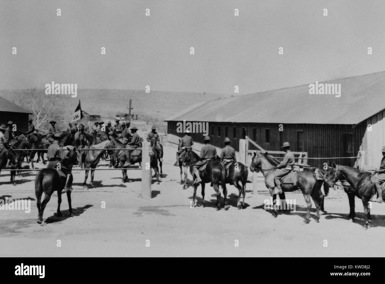 African American 'Buffalo Soldiers' at Fort Huachuca, Cavalry Stables, Sierra Vista, Arizona. 1928. (BSLOC - Stock Image