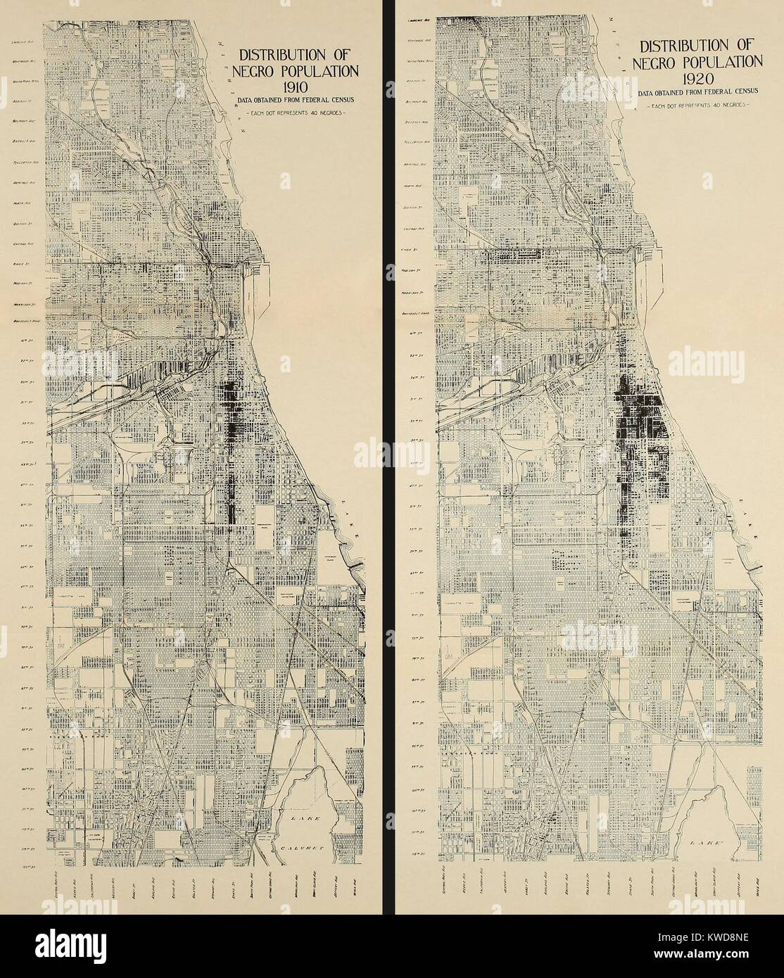 Map Of America Showing Chicago.Distribution Of African American Population In Chicago In 1910 And