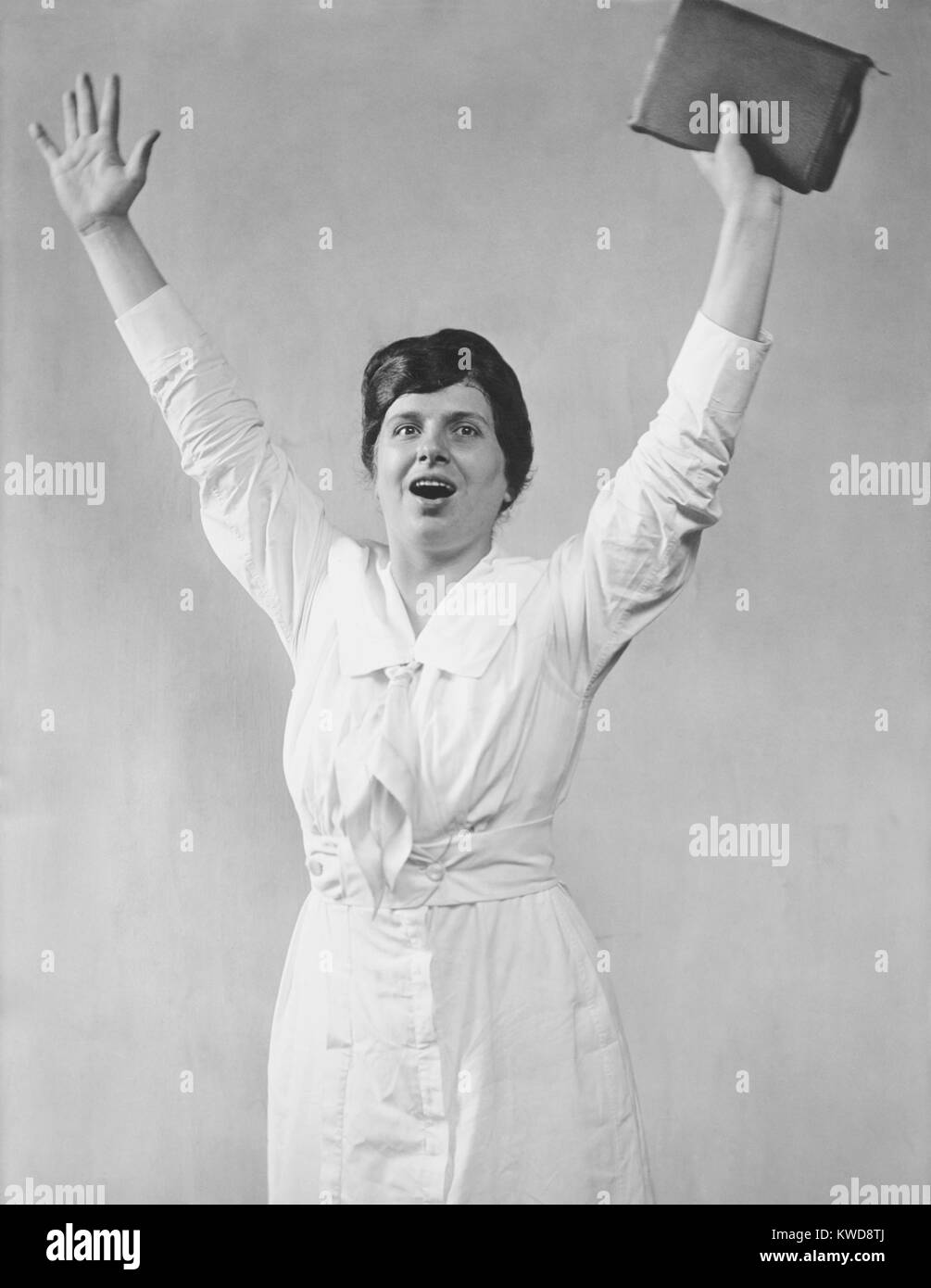 Aimee Semple McPherson, ca. 1920, was a Canadian-American, celebrity evangelist. The Pentecostal 'Sister Aimee' Stock Photo