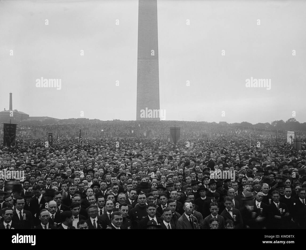 200,000 of the 1,500,000 Holy Name men who took part in a Washington, D.C. parade. On Sept 21, 1924, they commemorated - Stock Image