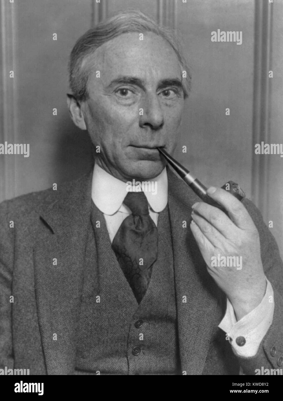 Bertrand Russell, British philosopher, historian, social critic, and political activist. He received the 1950 Nobel - Stock Image