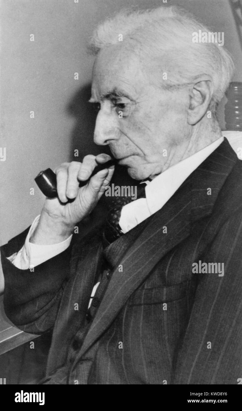Bertrand Russell, British philosopher, historian, social critic, and political activist, c. 1940. He was a pacifist - Stock Image