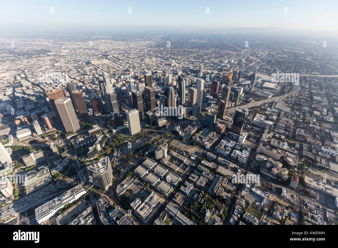 Los Angeles, California, USA - August 7, 2017:  Aerial view of downtown Los Angeles skyline and streets. Stock Photo