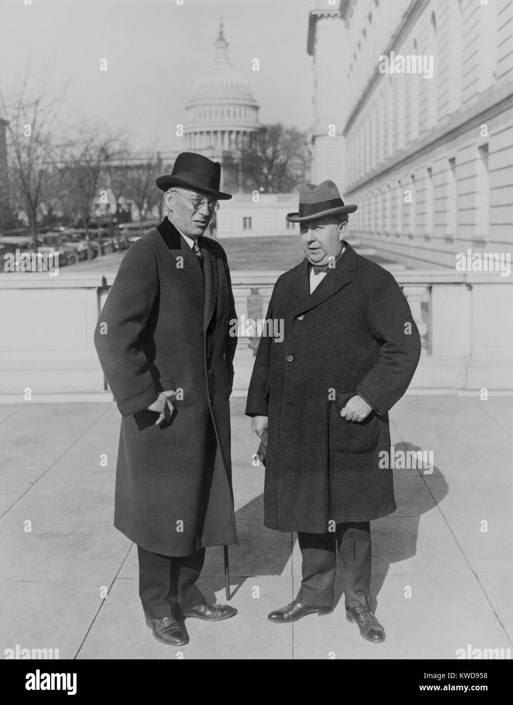 Asst. Treasury Sec. Lincoln Andrews and the Commissioner of Prohibition, Roy Hayne. When Andrews succeeded Hayne - Stock Image
