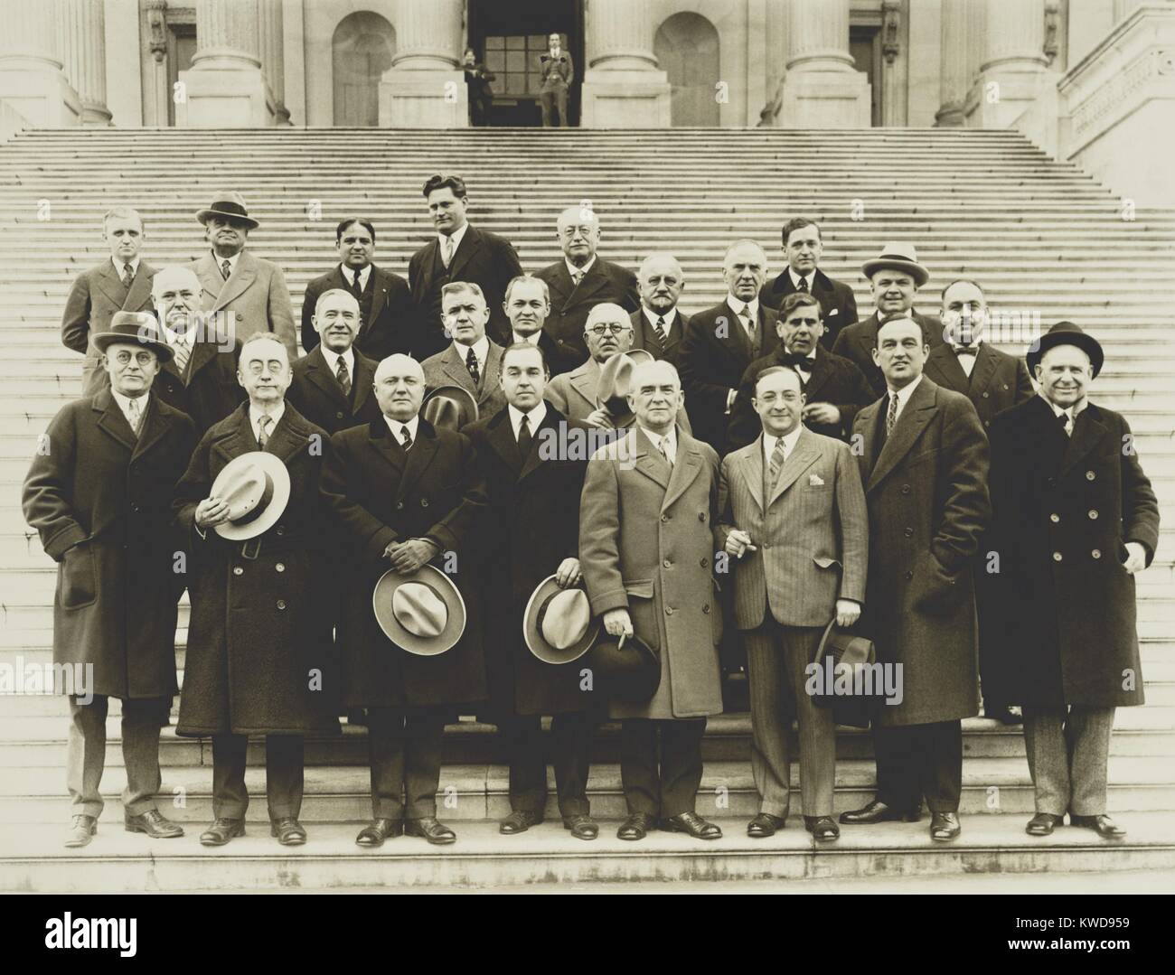 24 of the 61 'Wet' Congressmen on the Capitol steps. With their leader, Maryland Rep. John Phillip Hill, - Stock Image