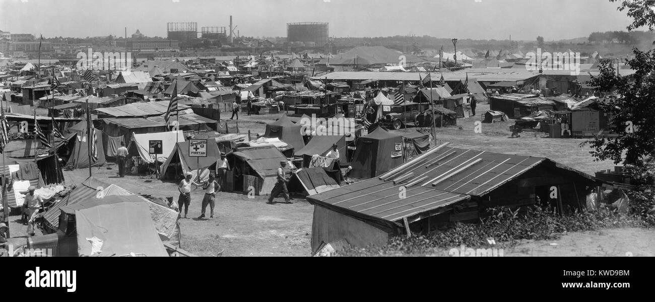 Bonus Army shacks at Anacostia Flats, Washington, D.C. July 1932. These are encampments of the 45th and 47th 'Bonus - Stock Image
