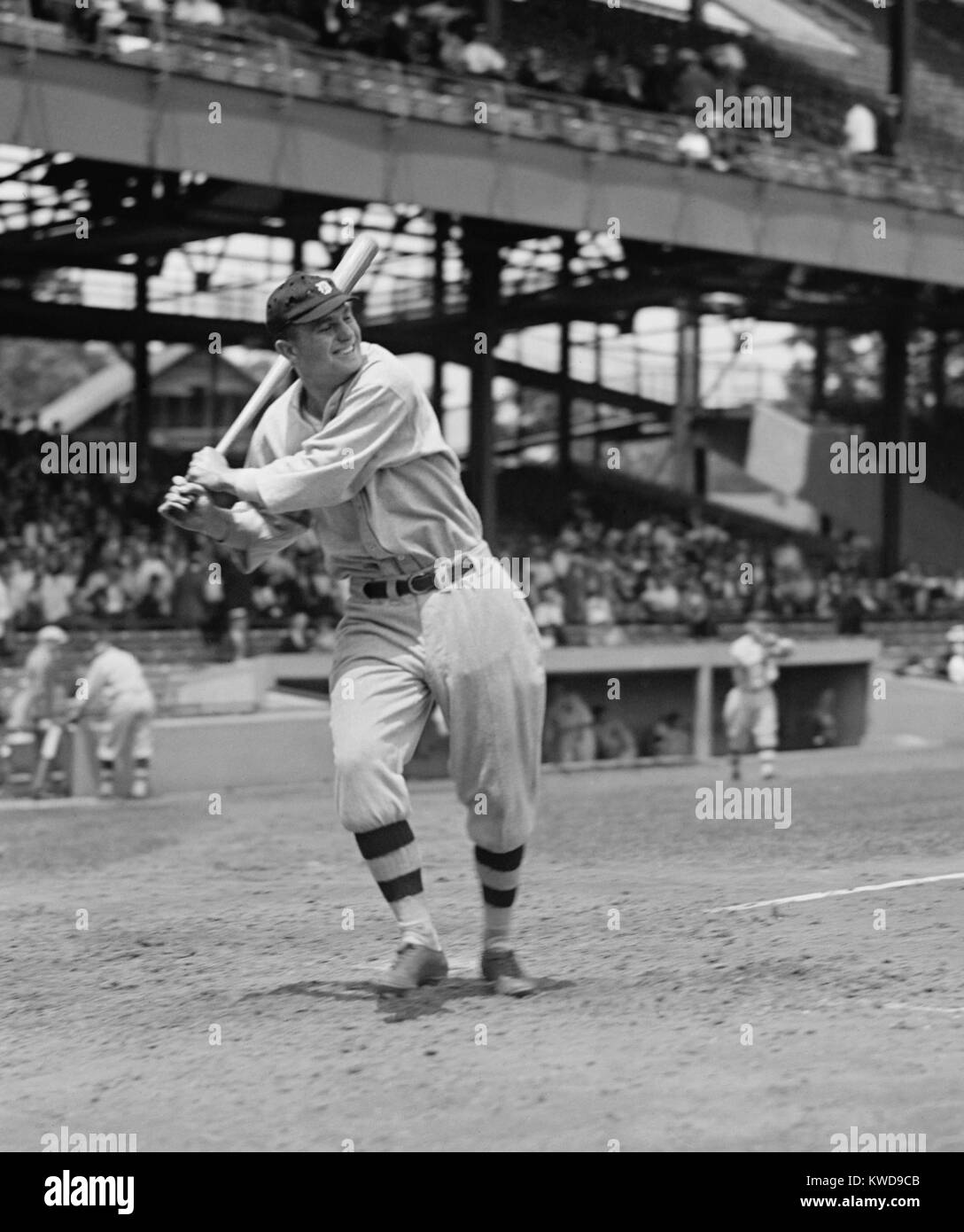 Heinie Manush in batting stance in his second Major League season with the Detroit Tigers, 1924. Manush won the - Stock Image