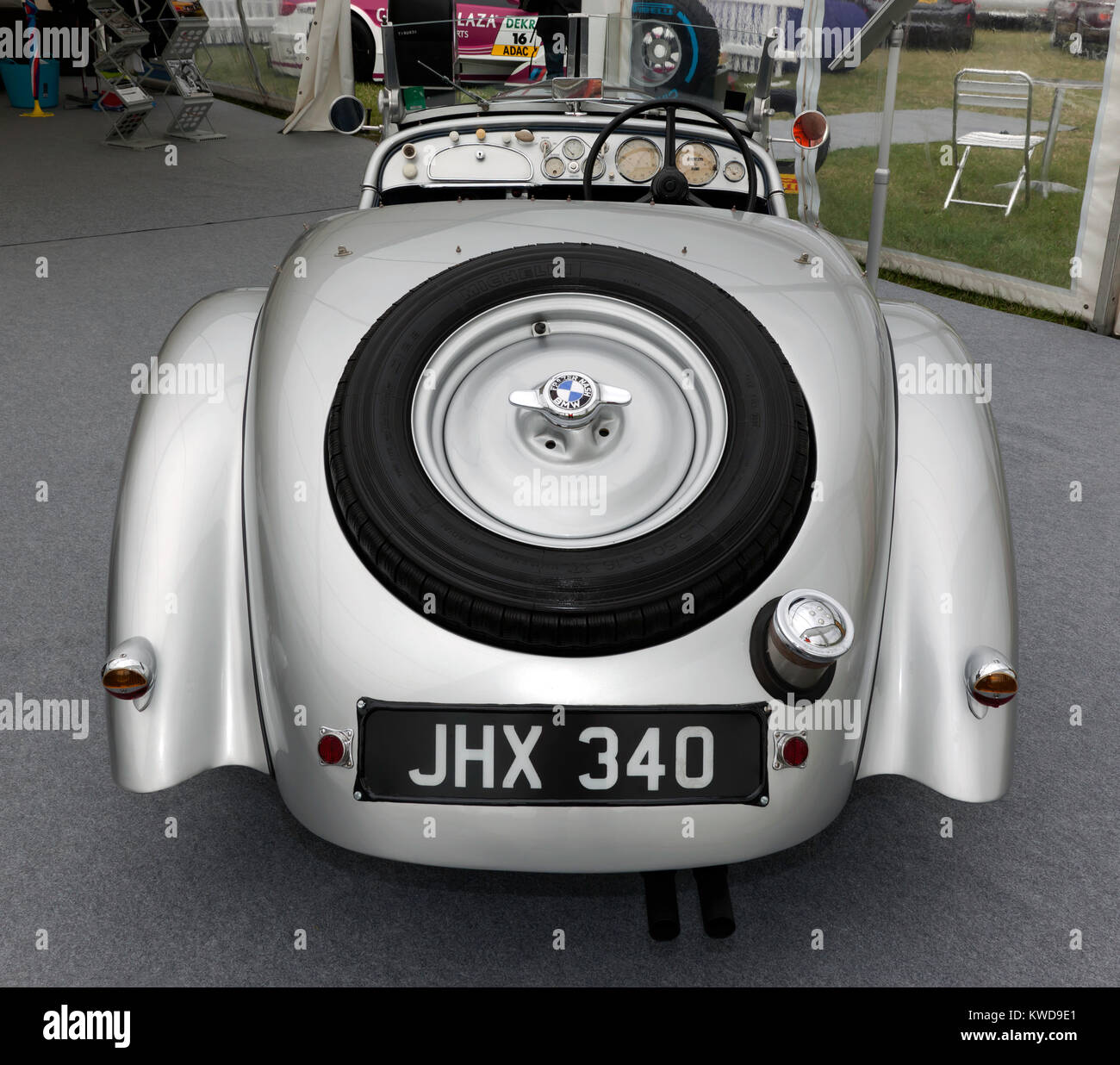 Rear view of a  1933, Silver BMW 328  on static display in the BMW Car Club of great britian Ltd zone of the Silverstone - Stock Image
