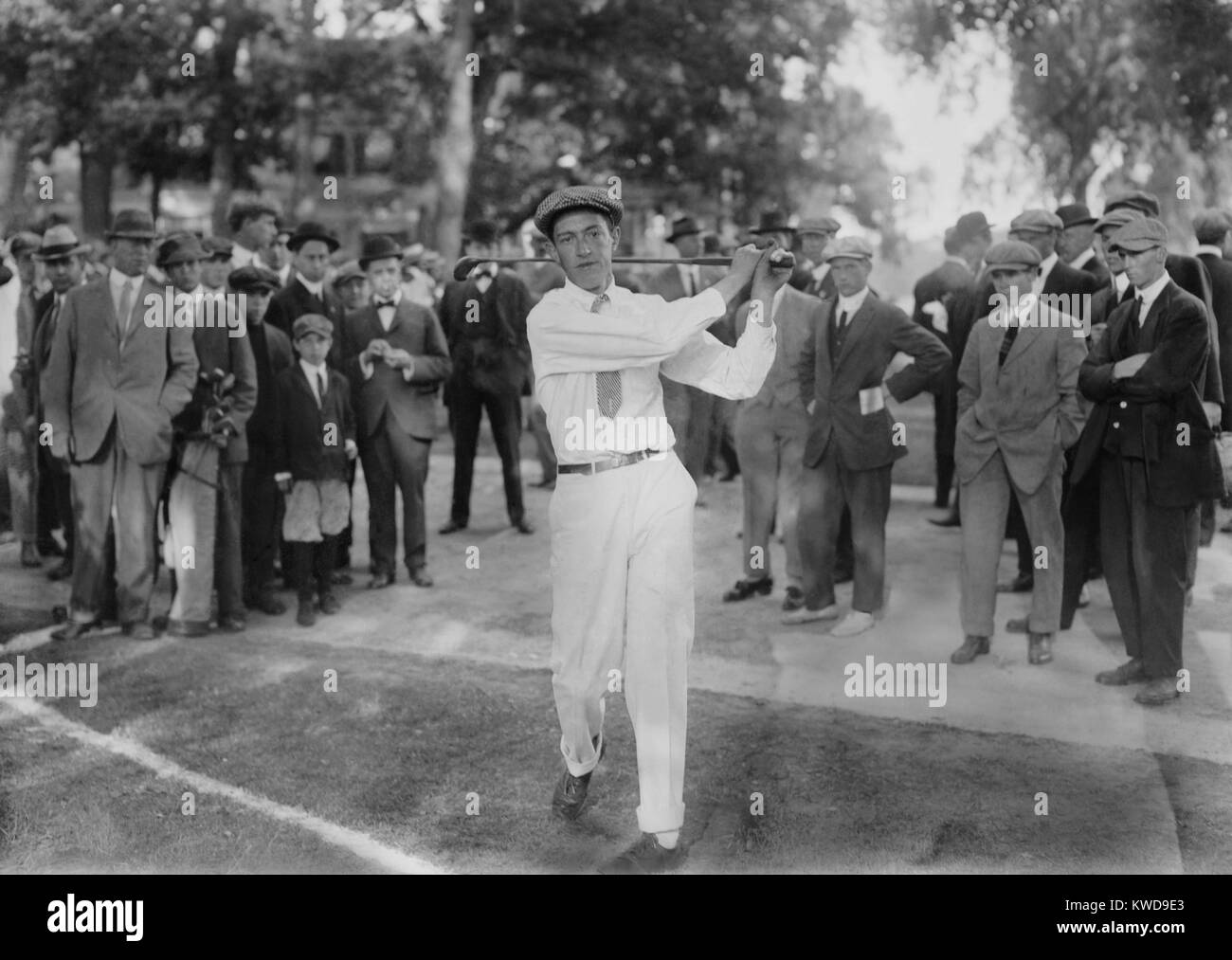 American golfer Francis DeSales Ouimet at the 1913 U.S. Open in Brookline, MA. Ouimet, a 20 year old amateur won - Stock Image