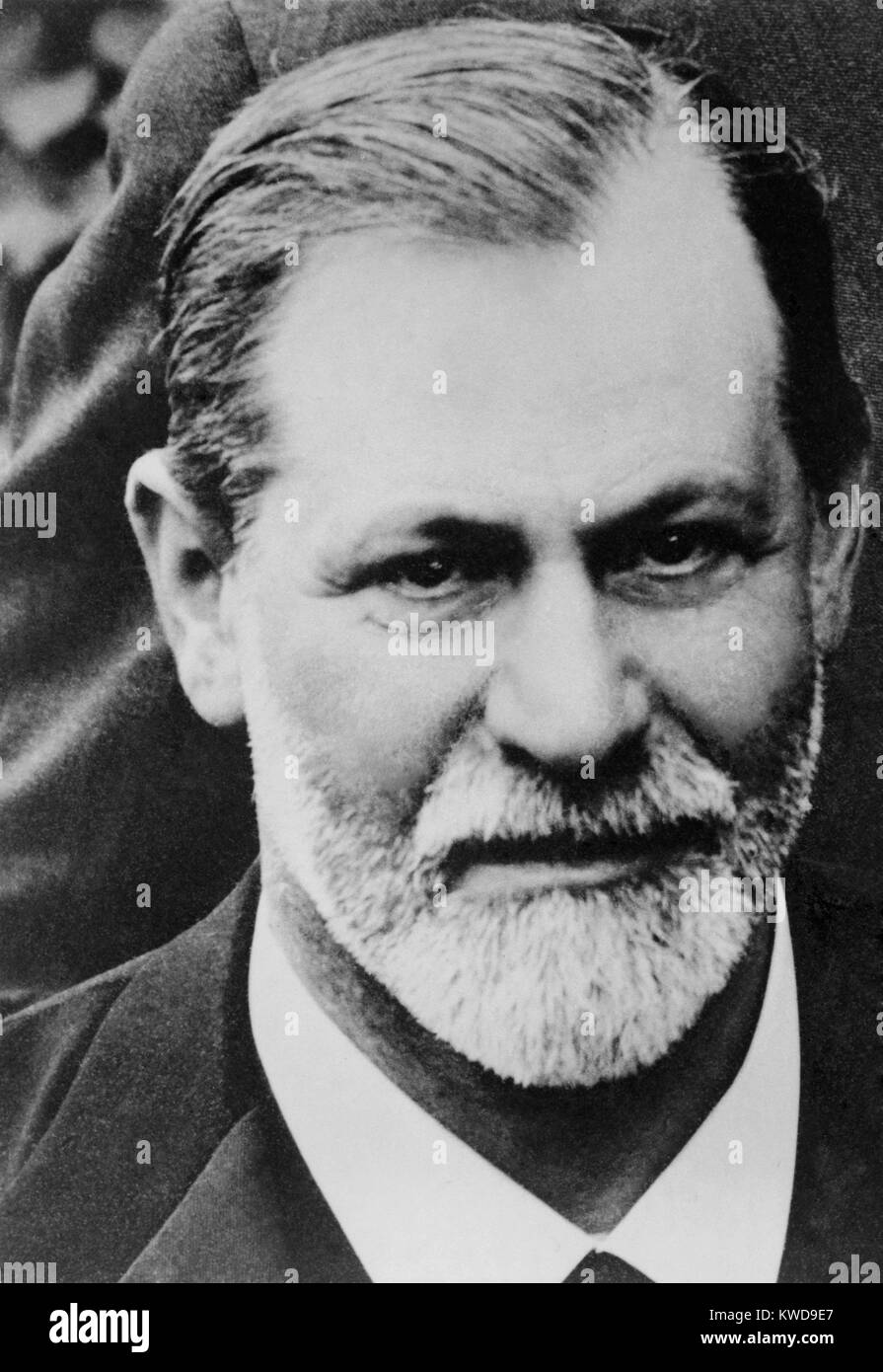 Sigmund Freud, head and shoulders portrait, 1909. The image is cropped from group photograph taken at Clark University, - Stock Image