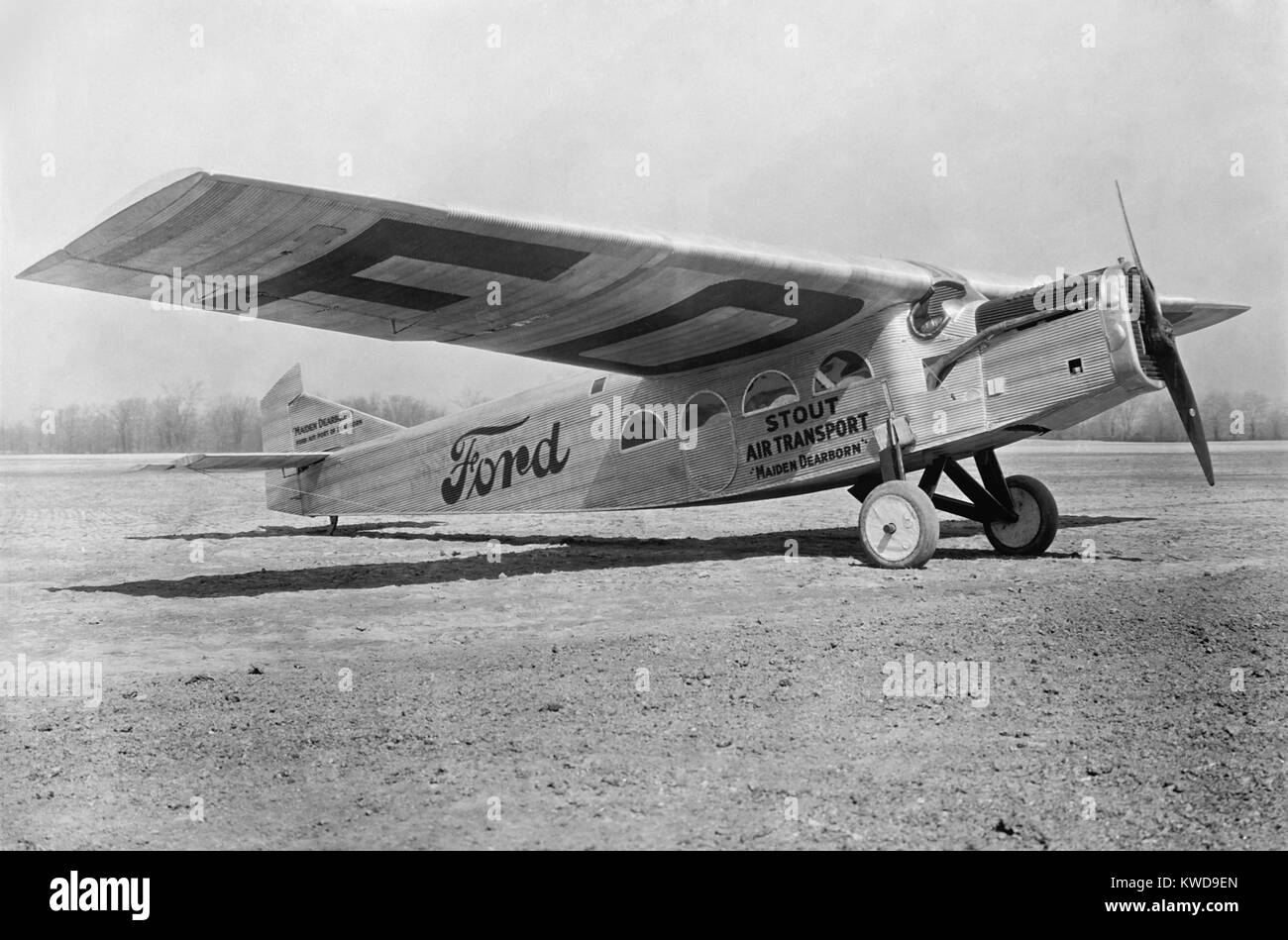 Ford commercial Tri-motor was one of the first planes used by U.S. passenger airlines, 1925. It was nicknamed the - Stock Image