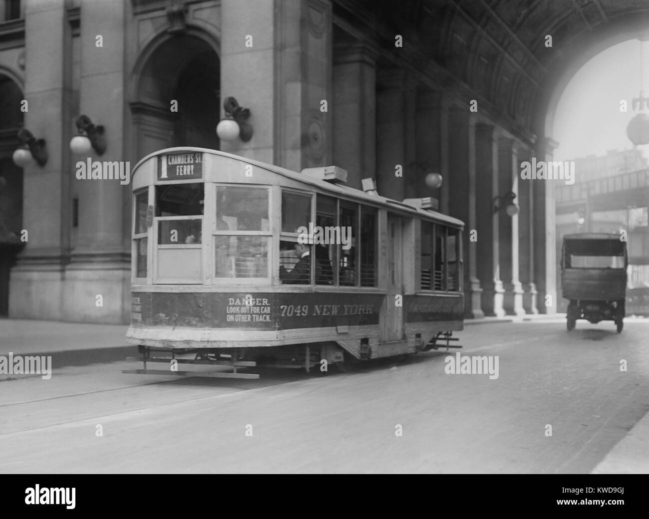New York City Chambers Street trolley was powered by expensive conduit electric current under the roadway. Typical - Stock Image