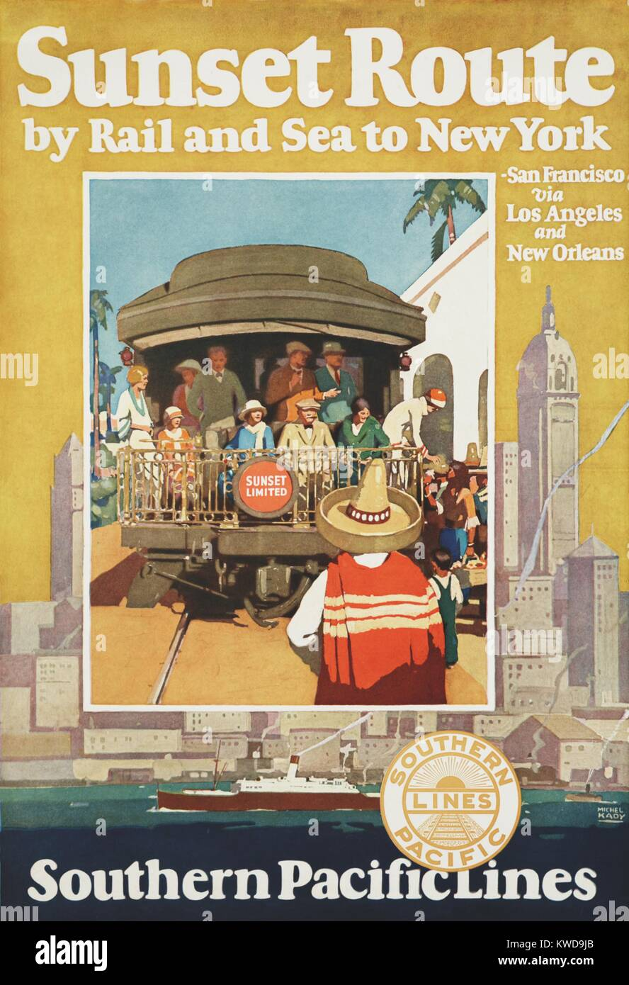 Southern Pacific Lines poster for their Sunset Route by rail and sea to New York, 1930 (BSLOC_2016_10_198) - Stock Image