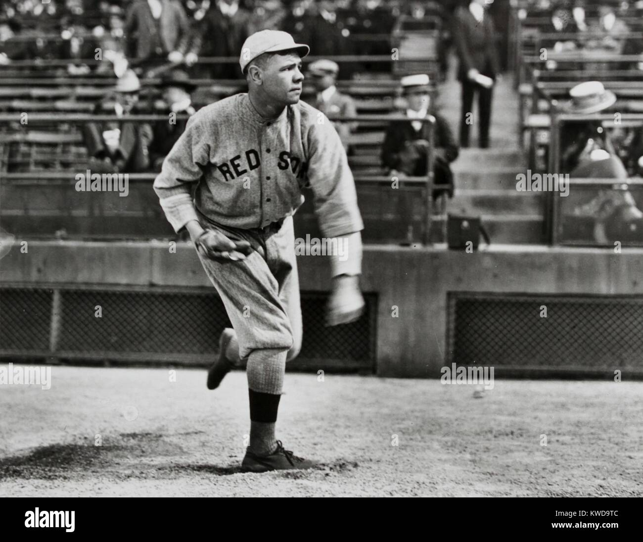Babe Ruth as a left-handed pitcher for the Boston Red Sox. Ca. 1914-19. (BSLOC_2015_17_21) - Stock Image