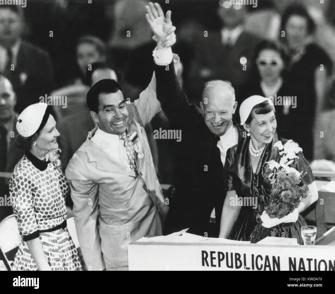 Dwight Eisenhower and Richard Nixon after nomination for President and Vice President, July 1952. Their wives stood - Stock Image