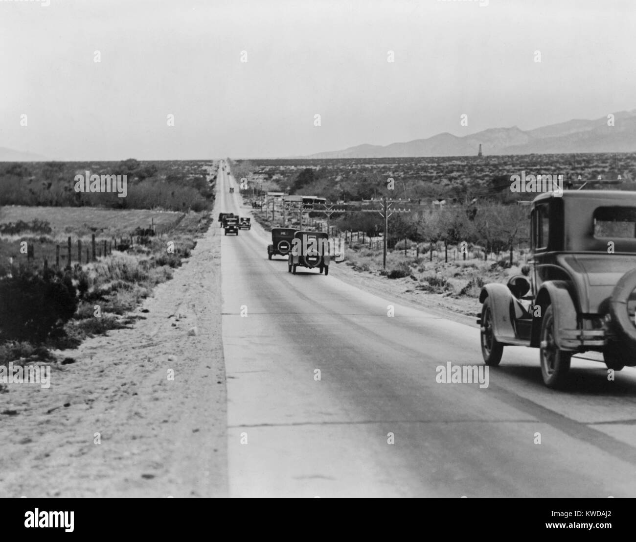 Highway leading towards Los Angeles across the Coachilla Desert, California, in the 1920s (BSLOC 2016 10 120) Stock Photo