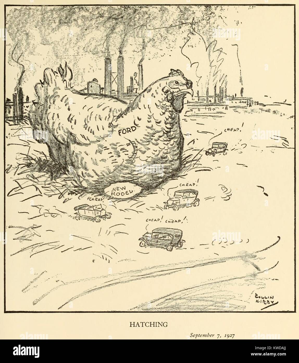 HATCHING, Cartoon by Rollin Kirby, for the New York World, Sept 7, 1927. The country was anticipating Ford's - Stock Image