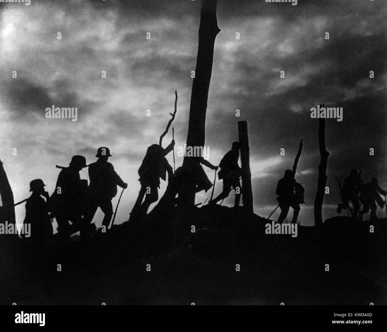 World War 1. Silhouette of German soldiers against a bombed out battlefield. Ca. 1916-18. (BSLOC 2013 1 1) Stock Photo