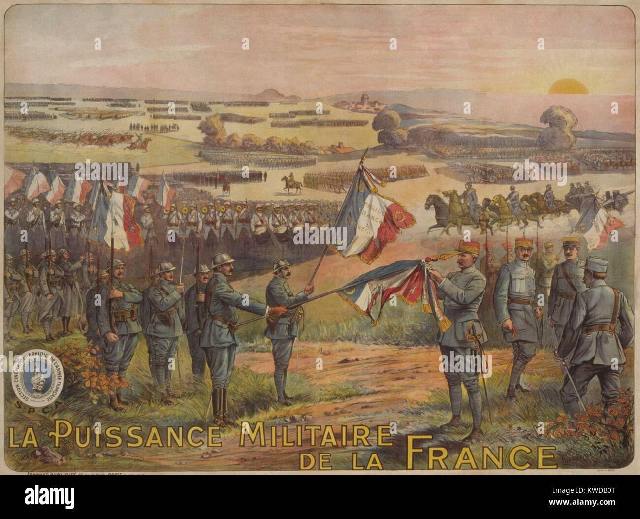 World War 1. 1917 French poster celebrating La Puissance Militaire de la Francs (The Power of the French Military). - Stock Image