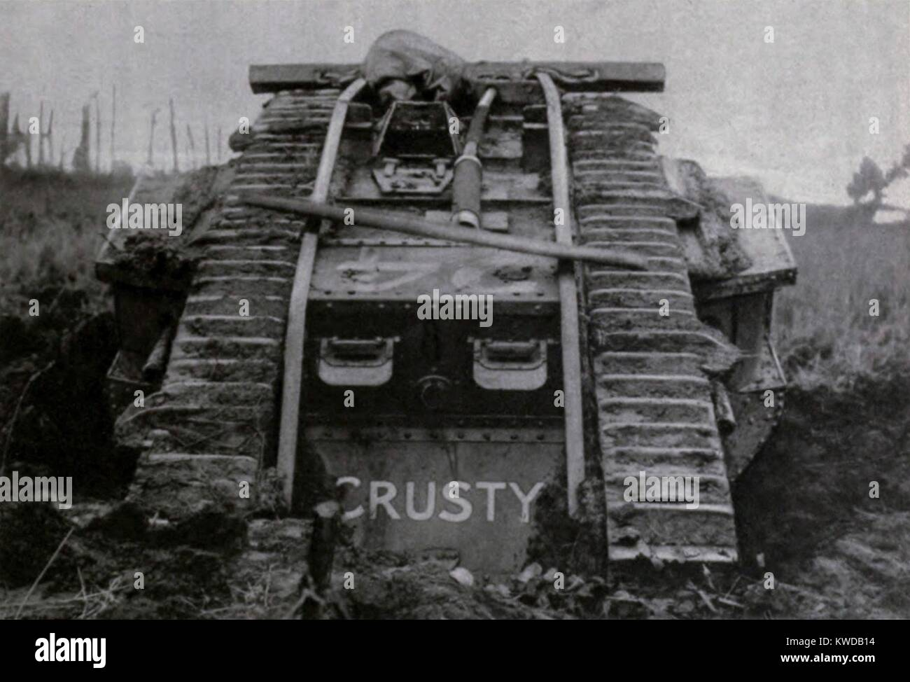 World War 1. British Mark IV Tank named Crusty prior to battle of Cambrai. 1917. (BSLOC_2013_1_150) - Stock Image