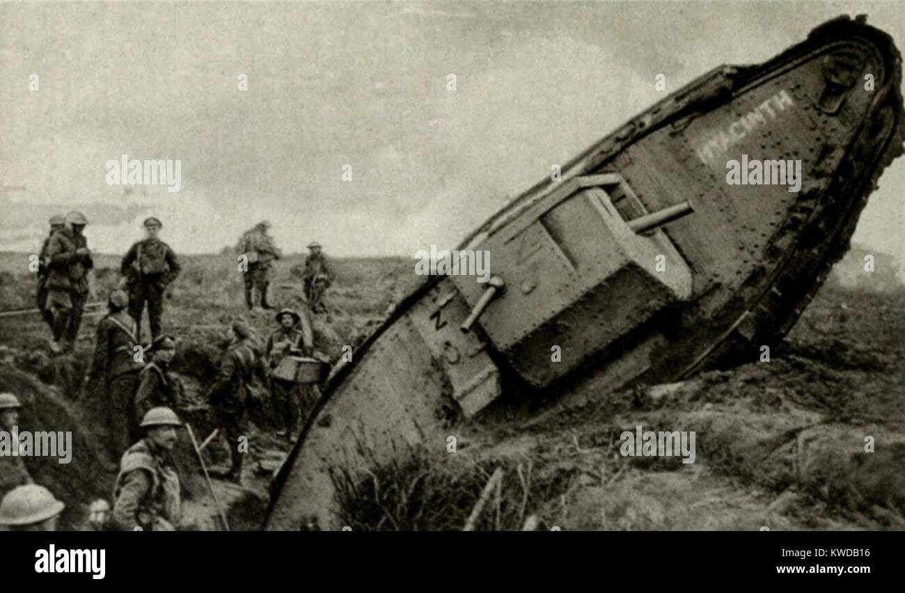 World War 1. British Tanks on the Western Front. A tank named Hyacinth stuck after falling into the second trench - Stock Image