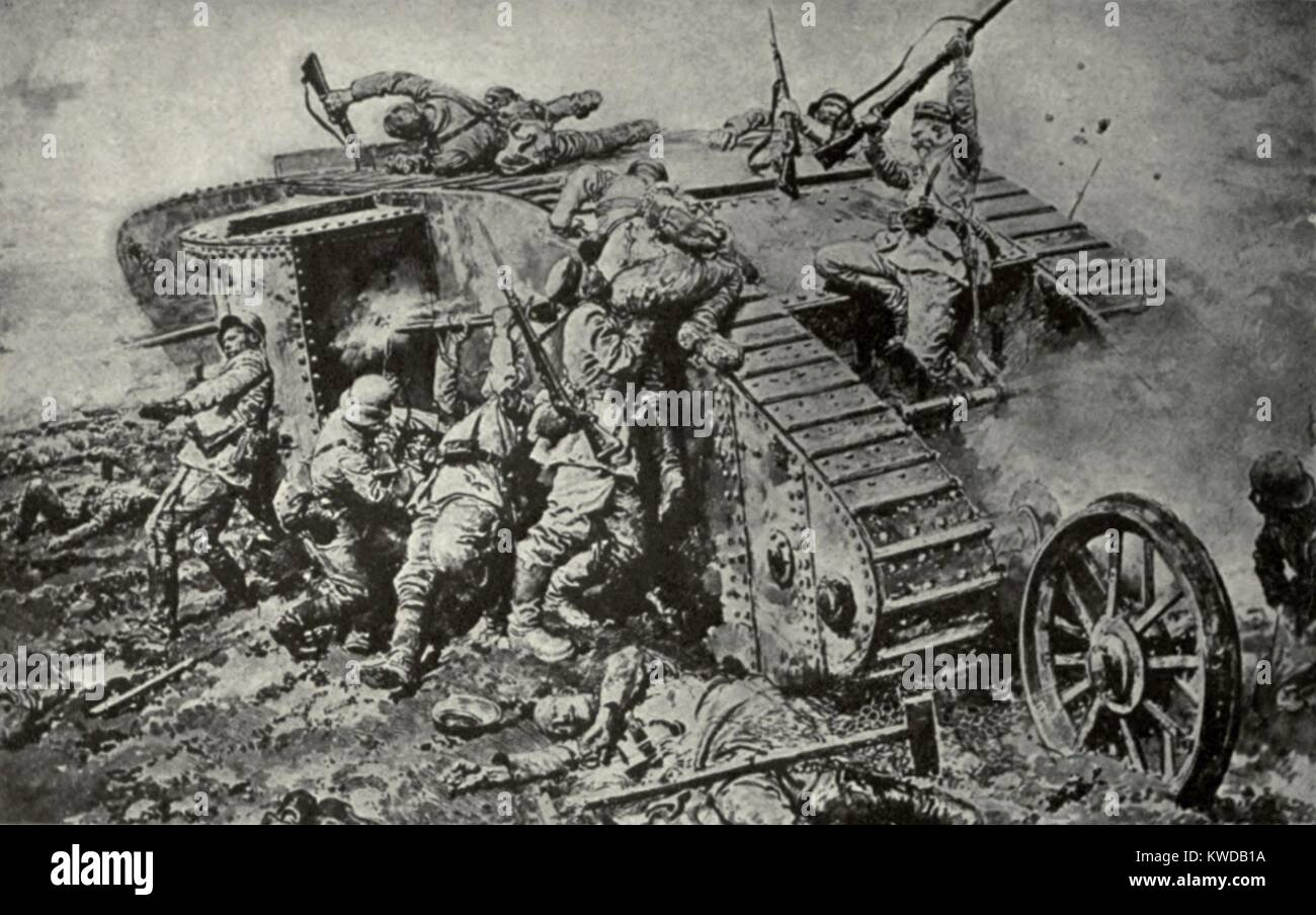 World War 1 Tanks  German soldiers attack on a British Tank
