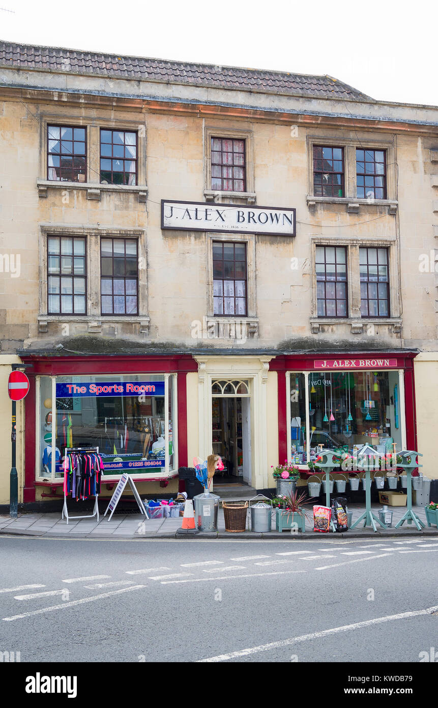 J.ALEX BROWN an old-fashioned ironmongers shop established in 1856  in Bradford on Avon Wiltshire England UK - Stock Image