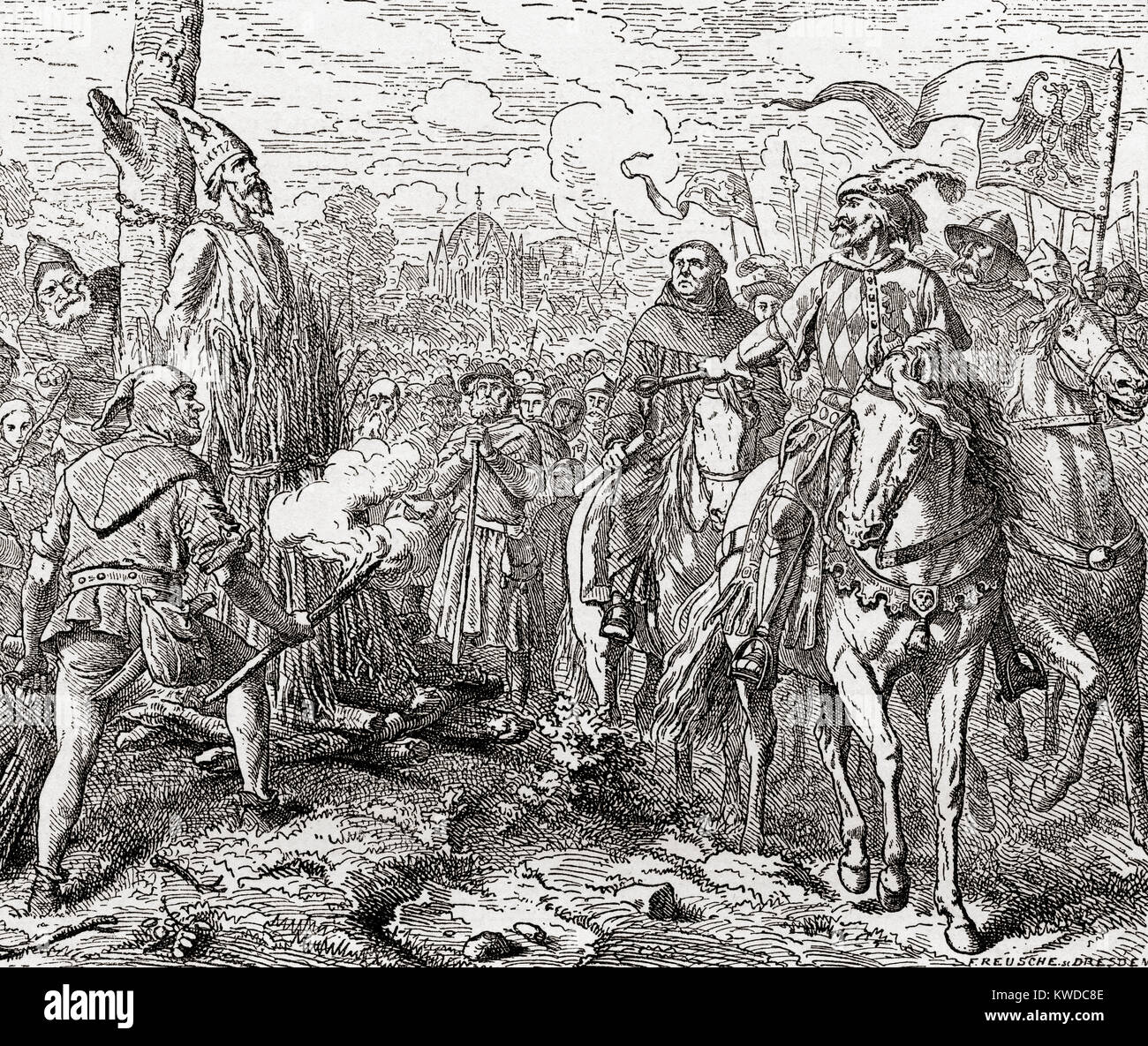 Jan Hus at the stake summoned to recant. Jan Hus , c. 1369 – 1415, aka John Hus or John Huss.  Czech theologian, - Stock Image