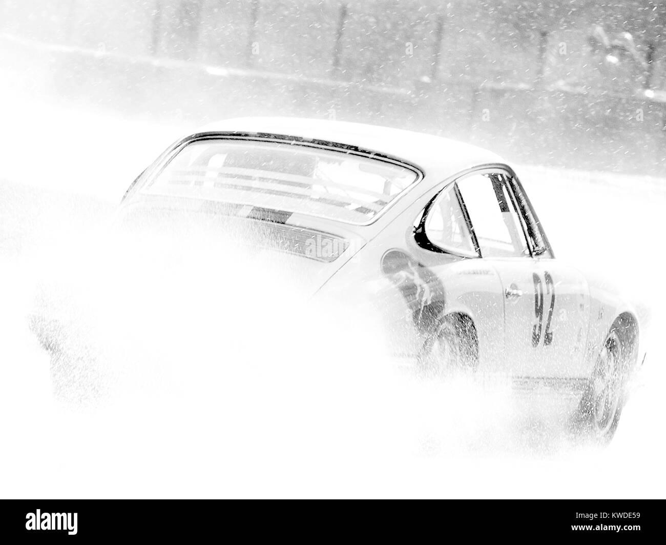 Porsche 911, in rain Spa 6hrs classic Black and white, no 92 - Stock Image