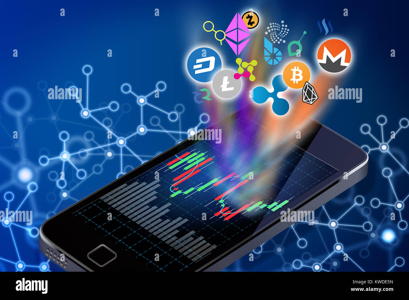 Conceptual illustration of altcoins cryptocurrency logos coming out of a cellphone screen. - Stock Image