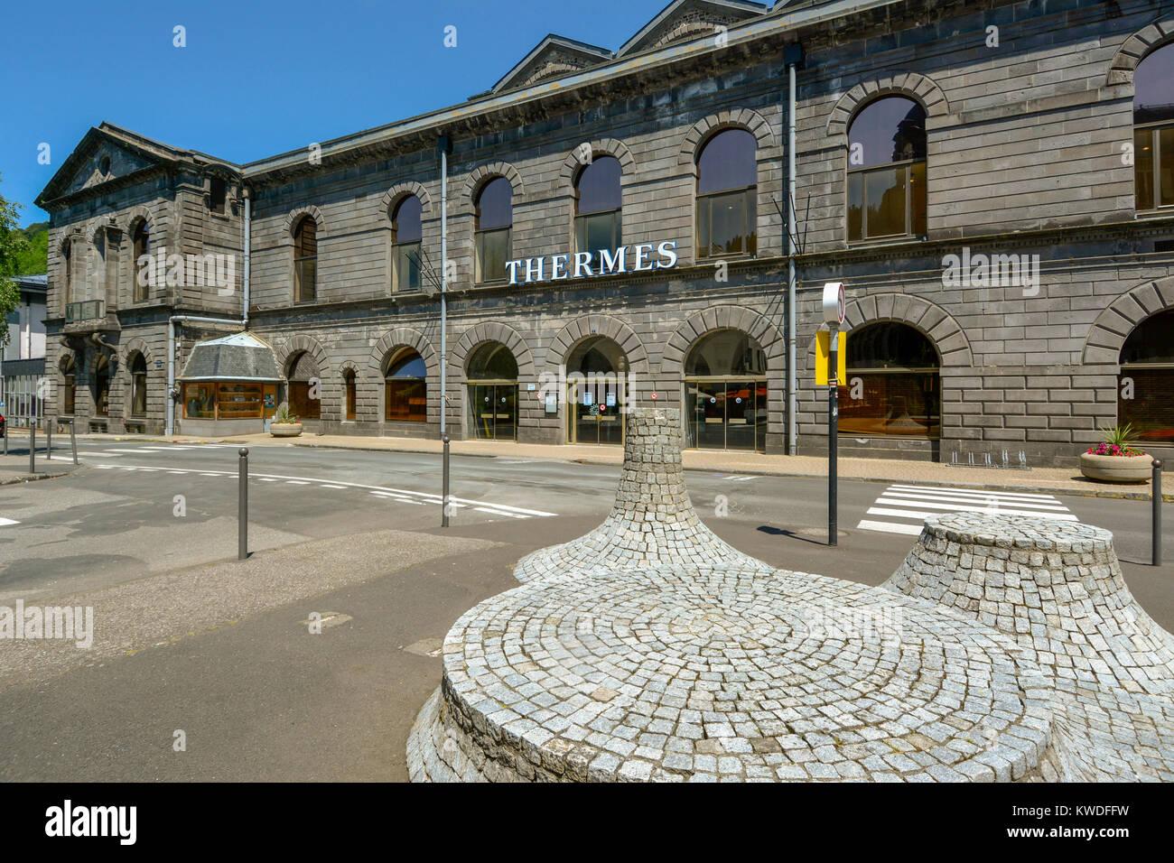 The Spa building in the Neo-Byzantine style at Le Mont-Dore, Département Puy-de-Dôme, Auvergne, France, - Stock Image