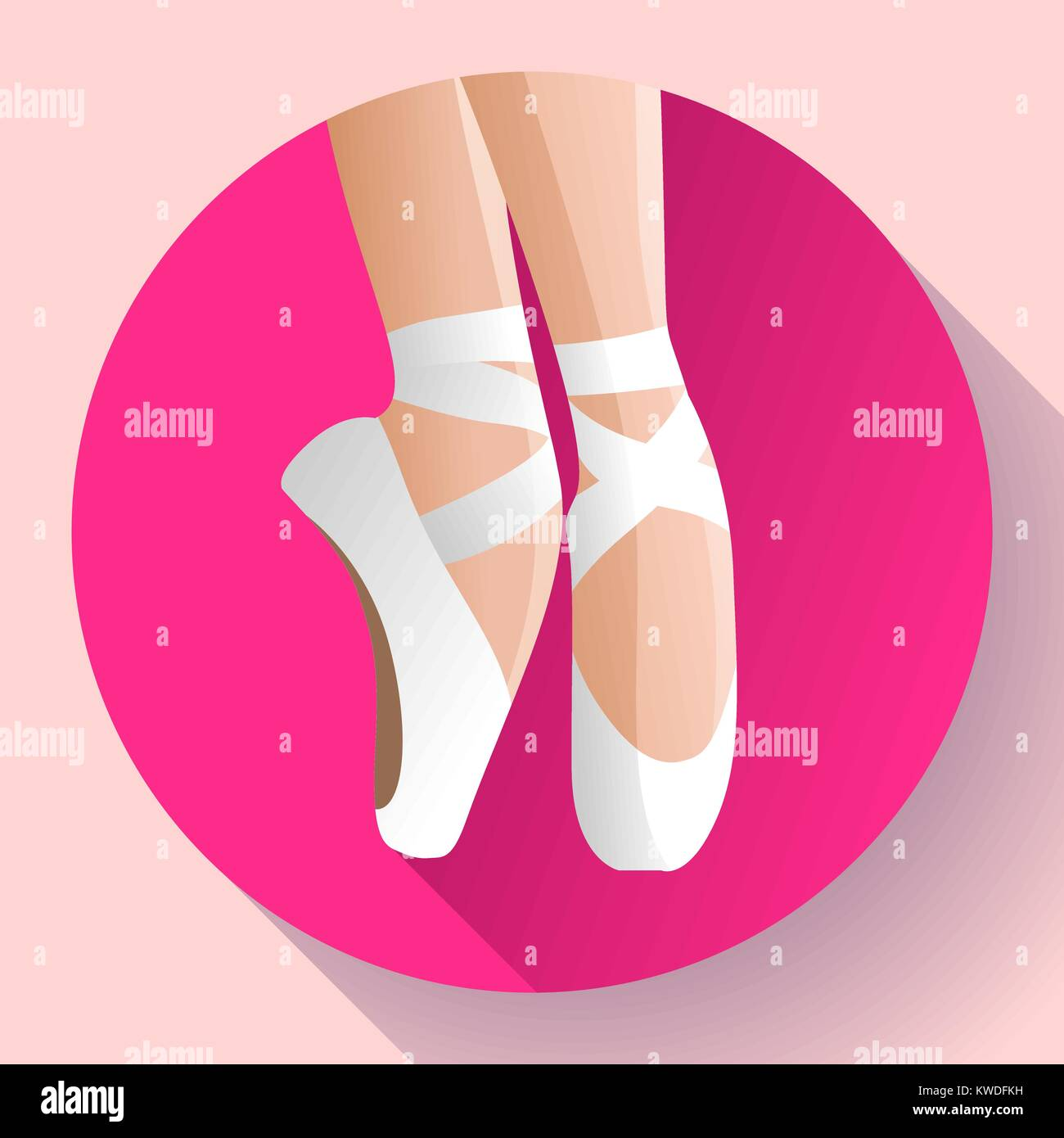 66a9c5fe25901 White ballet pointe shoes flat Vector illustration of gym ballet shoes  standing on tiptoes