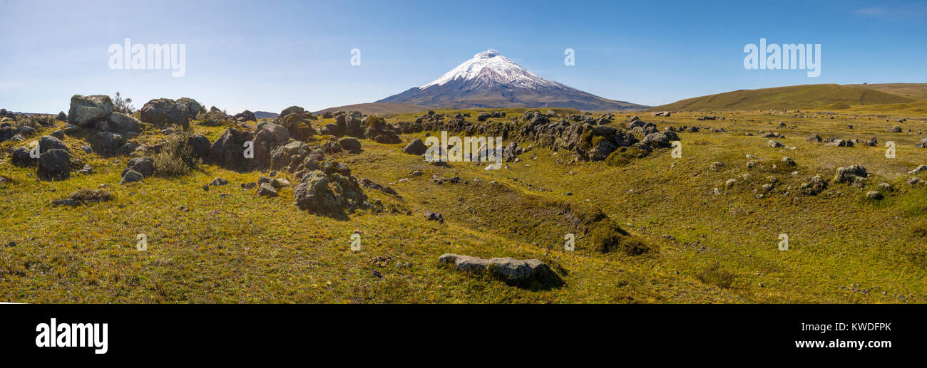 Cotopaxi Volcano, Ecuador with lichen covered boulders thrown out from past eruptions in the foreground. One of - Stock Image