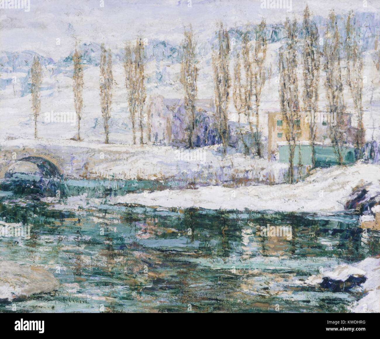 WINTER, by Ernest Lawson, 1914, American painting, oil on canvas. Born in Halifax, Nova Scotia, Lawson was a New - Stock Image