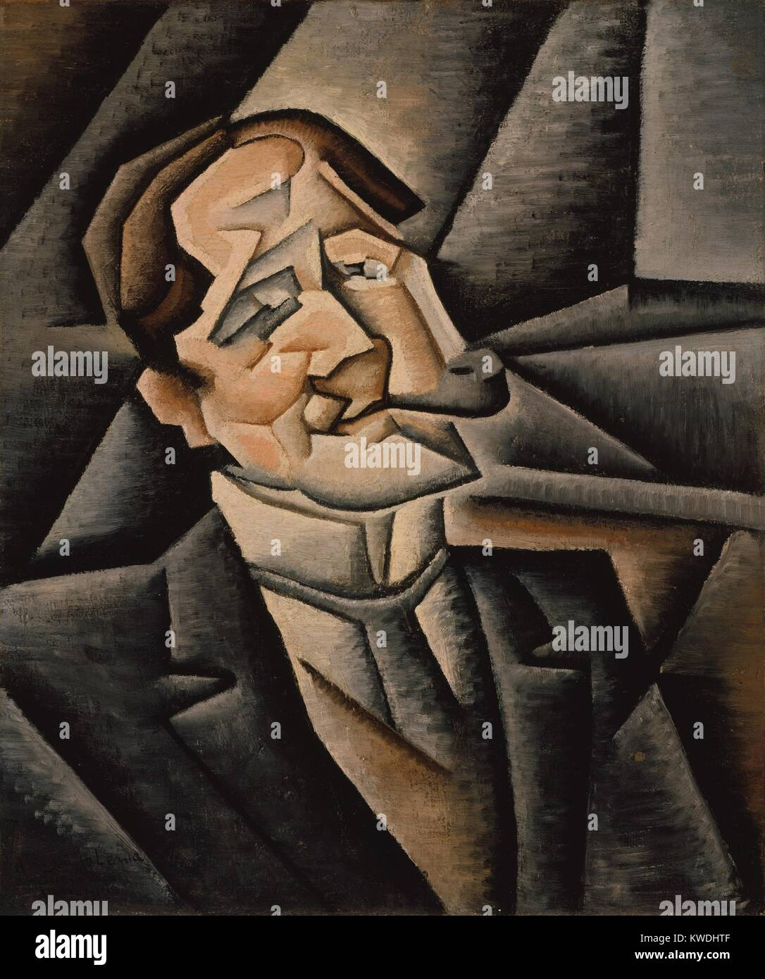 JUAN LEGUA, by Juan Gris, 1911, Spanish Cubist painting, oil on canvas. Analytic Cubist portrait of a man smoking - Stock Image